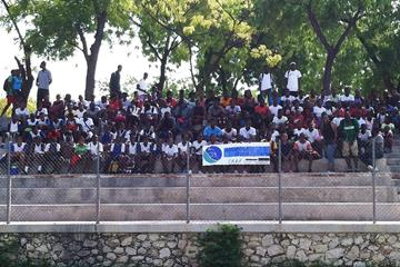 Students and coaches at the athletics camp in Haiti (NFP Foundation)