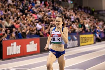 Laura Muir wins the 1000m at the World Athletics Indoor Tour meeting in Glasgow (Dan Vernon)