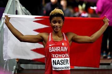 Salwa Eid Naser of Bahrain after taking the silver medal in the women's 400m at the IAAF World Championships London 2017 (Getty)