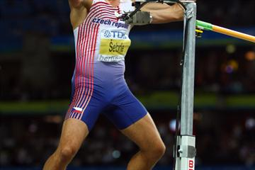 Roman Sebrle of the Czech Republic celebrates jumping 2.11m in the men's Decathlon High Jump (Getty Images)