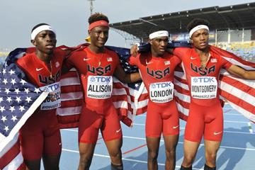 The victorious US 4x400m team at the IAAF World U20 Championships Bydgoszcz 2016 (Getty Images)