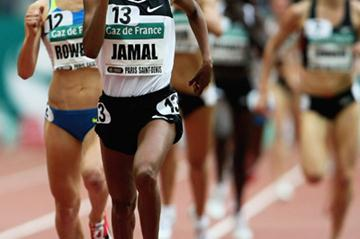 Maryam Yusuf Jamal holds off the much-improved Shannon Rowbury in the women's 1500m (Getty Images)