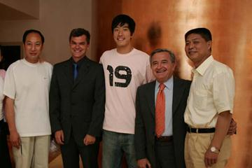 From left to right Sun Haiping, Nick Davies, Liu Xiang, Sandro Giovannelli and Dr Feng Shuyong (Getty Images)
