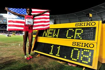 Candace Hill after winning the girls' 100m at the IAAF World Youth Championships, Cali 2015 (Getty Images)