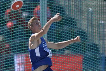 Johannes Erm of Estonia in the decathlon discus at the IAAF World U20 Championships Bydgoszcz 2016 (Getty Images)