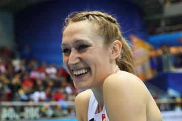 Poland's Kamila Licwinko after winning the high jump (Getty Images)
