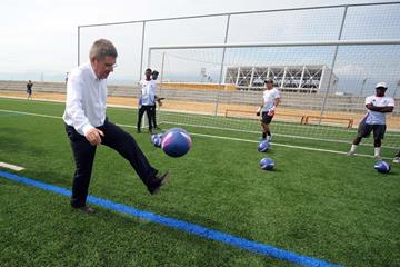 IOC president Thomas Bach at the opening of the Sport for Hope Centre in Port-au-Prince, Haiti (IOC)
