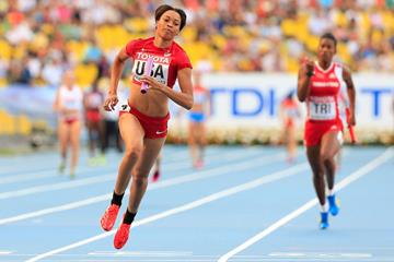 Octavious Freeman in the womens 4x100m Relay at the IAAF World Championships Moscow 2013 (Getty Images)