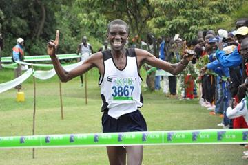 Peter Mateelong wins at the KCB/Athletics Kenya National Cross Country Series meeting in Embu  (Mutwiri Mutuota)