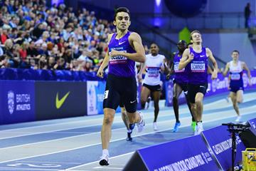 Adam Kszczot winning the 800m at the 2016 Glasgow Indoor Grand Prix (Getty Images)