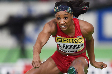 Kendra Harrison in action at the IAAF World Indoor Championships (AFP / Getty Images)