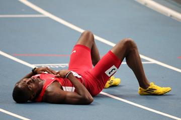 Michael Tinsley in the mens 400m Hurdles at the AAF World Athletics Championships Moscow 2013 (Getty Images)