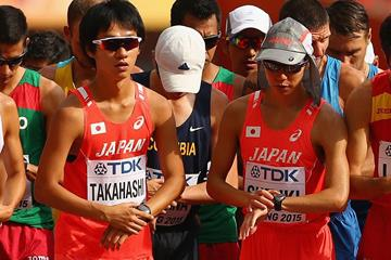 Japanese race walkers Eiki Takahashi and Yusuke Suzuki at the IAAF World Championships (Getty Images)