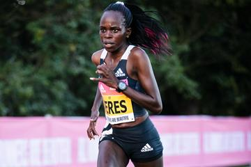 Peres Jepchirchir on her way to a world half marathon record in Prague (Getty Images)