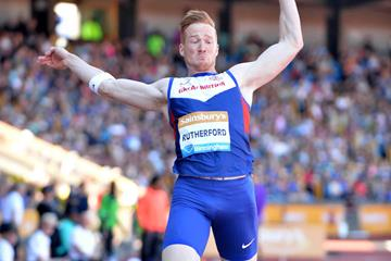 Greg Rutherford at the 2015 IAAF Diamond League in Birmingham (Jean-Pierre Durand)