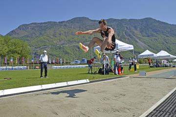 Martin Roe in the decathlon long jump at Multistars in Lana (Daniele Morandi)