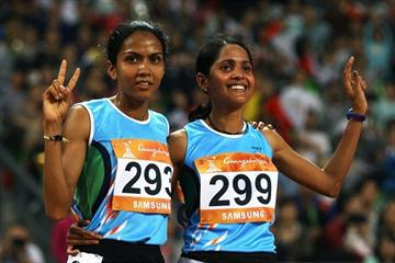10,000m 1-2 finish for India in Guangzhou - silver medallist Kavita Raut and Asian Games champion Preeja Sreedharan (Getty Images)