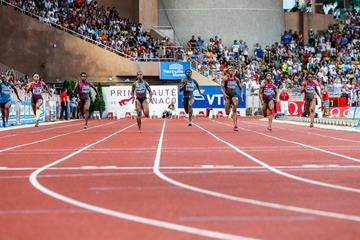 The women's 100m, with winner Tori Bowie (centre), at the 2014 IAAF Diamond League meeting in Monaco (Philippe Fitte)