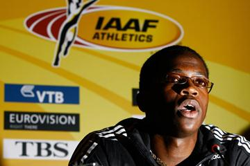Dayron Robles at the press conference on the eve of the World Indoor Championships (Getty Images)