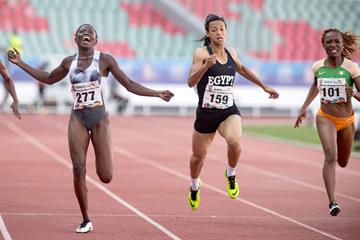 Gina Bass taking the African Games 200m title in Rabat (AFP/Getty Images)