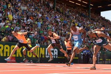Pascal Martinot-Lagarde wins the 110m hurdles at the IAAF Diamond League meeting in Eugene (Kirby Lee)