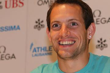 Renaud Lavillenie at the press conference for the 2013 Lausanne Diamond League (Gladys Chai)