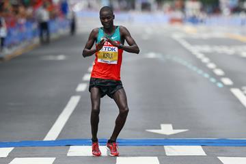 Abel Kirui celebrates his successful world marathon title defence in Daegu (Getty Images)