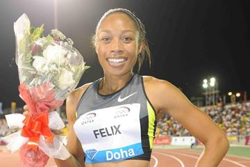 Allyson Felix after her victory in the 2012 Samsung Diamond League in Doha (Jiro Mochizuki)