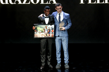 Felix Sanchez Arrazola, winner of the Athletics Photograph of the Year at the IAAF Athletics Awards 2018, alongside Selemon Barega, the subject of the winning photo (Philippe Fitte)