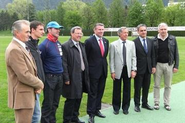 Sepp Messner, Christian Obrist, Armin Zöggeler, Albert Pürgstaller, Sergey Bubka, Gustav Thöni, Rudi Rienzner and Stefano Andreatta during the IAAF visit to the town of in Bressanone in S?dtirol, Italy which will host the World Youth Championships (LOC)