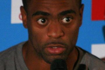 Tyson Gay meets the press in Paris (Bob Ramsak)