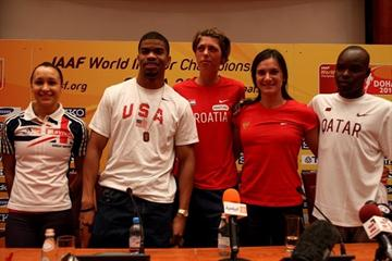 Line up at the LOC press conference in Doha - Jessica Ennis, Terence Trammell, Blanka Vlasic, Yelena Isinbayeva, and James Kwalia (Getty Images)