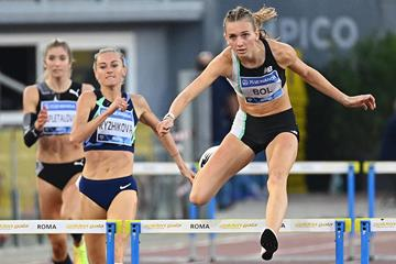 Femke Bol on her way to winning the 400m hurdles at the Wanda Diamond League meeting in Rome (AFP / Getty Images)