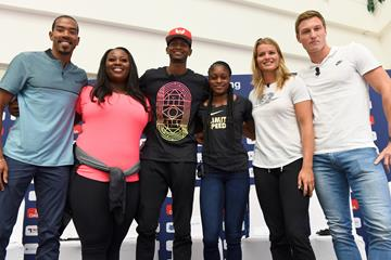 Christian Taylor, Michelle Carter, MutazBarshim, Elaine Thompson, Dafne Schippers and Thomas Rohler at the pre-meet press conference in Doha (Jiro Mochizuki/Hasse Sjogren)