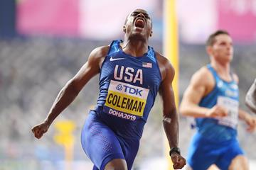 Christian Coleman wins the 100m at the IAAF World Athletics Championships Doha 2019 (Getty Images)