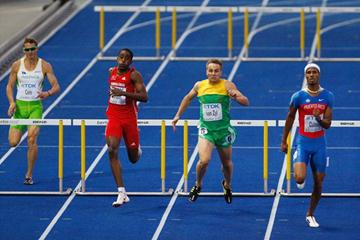 (L-R) Brendan Cole of Australia, Jehue Gordon of Trinidad and Tobago, Lj Van Zyl of South Africa and Javier Culson of Puerto Rico compete in the men's 400m hurdles semi-final (Getty Images)