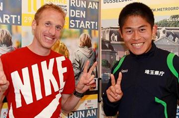 Jan Fitchen and Yuki Kamauchi at the MetroGroup Dusseldorf Marathon Press Conference (Victah Sailer)