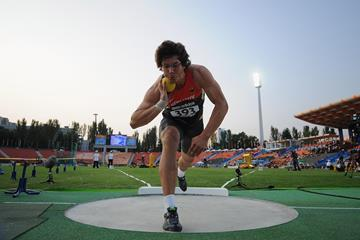 Germany's Patrick Muller in the boys' Shot final at the 2013 World Youth Championships in Donetsk (Getty Images)