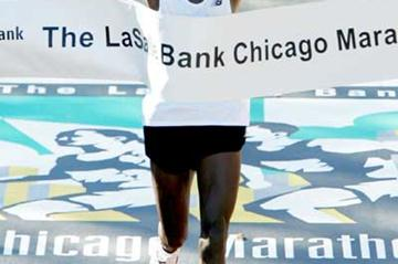Evans Rutto breaks the finishing tape to win the 2004 Chicago Marathon (Getty Images)