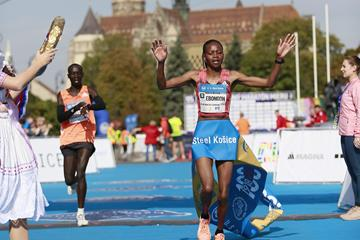 Milliam Ebongon winning the Kosice Peace Marathon (Organisers)