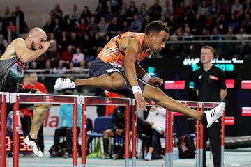 Orlando Ortega wins the 60m hurdles at the IAAF World Indoor Tour meeting in Torun (Jean-Pierre Durand)