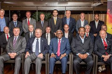 IAAF President Diack with his Vice-Presidents (Coe absent due to LOCOG duties) and Treasurer (all front row), and the representatives of the founding national Member Federations of the IAAF at the 16 July 2012 dinner at the Fairmont Hotel, Monte-Carlo (Philippe Fitte)