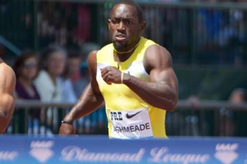 Jamaica's Nickel Ashmeade wins the 200m at the IAAF Diamond League meeting in Eugene (Kirby Lee)