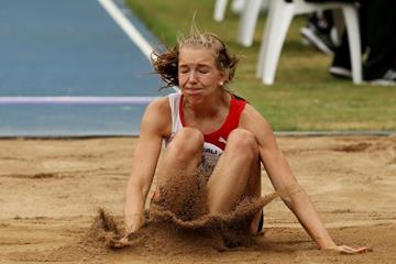 Switzerland's Geraldine Ruckstuhl  in the heptathlon long jump at the IAAF World Youth Championships, Cali 2015  (Getty Images)