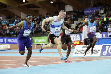 Mike Rodgers (left) wins the 60m at the IAAF World Indoor Tour meeting in Madrid (Jean-Pierre Durand)