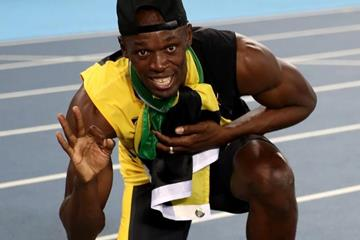 Usain Bolt after achieving the triple triple at the Rio 2016 Olympic Games