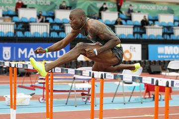 Grant Holloway in action in the 60m hurdles at the World Athletics Indoor Tour Gold meeting in Madrid (Jean-Pierre Durand)