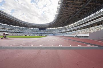On the track at Tokyo Olympic Stadium (Japan Sport Council)