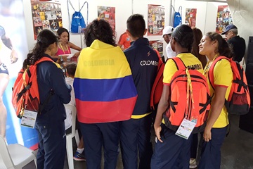 The IAAF's outreach stand at the IAAF World Youth Championships, Cali 2015 (IAAF)