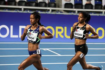 Lemlem Hailu on her way to winning the 3000m at the World Athletics Indoor Tour Gold meeting in Torun (Jean-Pierre Durand)